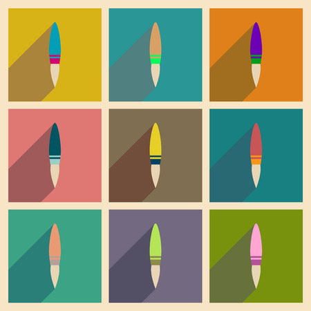rocketship: Concept of flat icons with long  shadow rocket Illustration