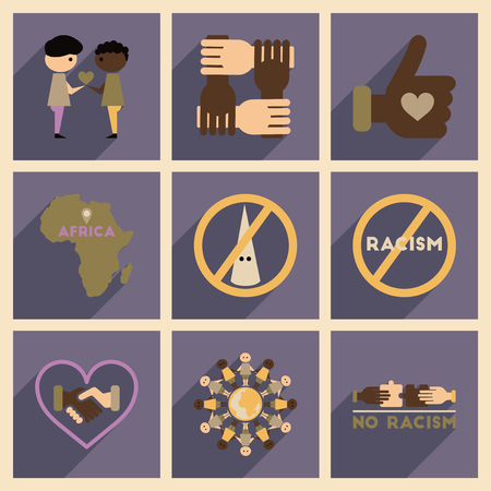 racial: Concept of flat icons with long  shadow no racism Illustration