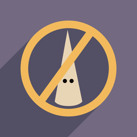 discriminate: Flat web icon with long  shadow racism fight