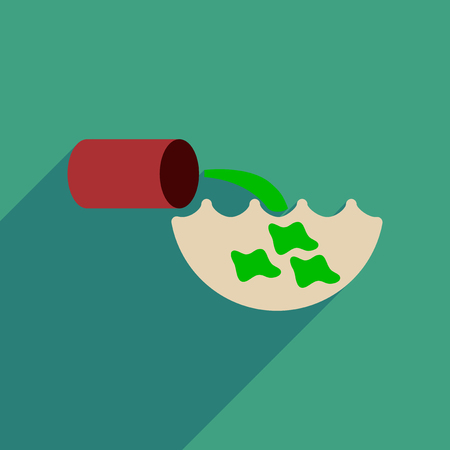 spoil: Flat web icon with long  shadow water pollution Illustration