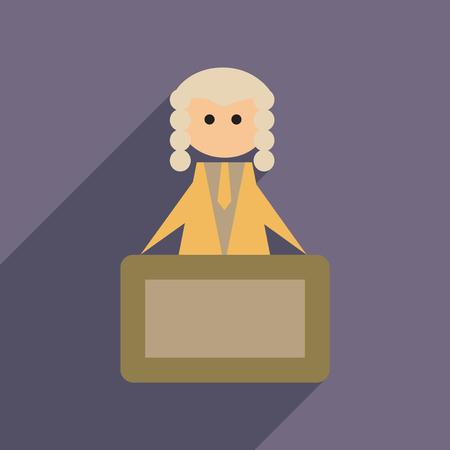 tribunal: Flat web icon with long  shadow judge