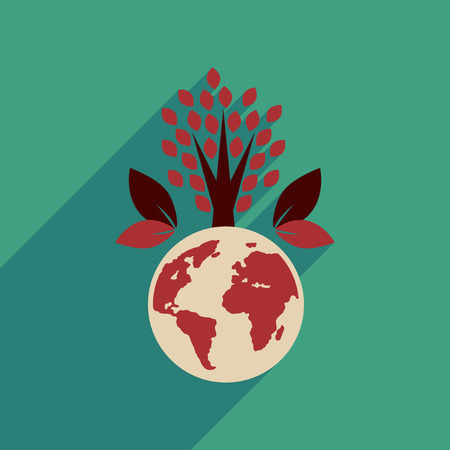 Flat web icon with long  shadow Earth plants