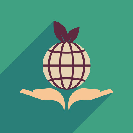 earth hands: Flat web icon with long  shadow Earth hands