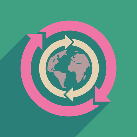 civilization: Flat web icon with long  shadow Earth arrows