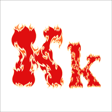 fiery: fiery font red letter K on white background Illustration