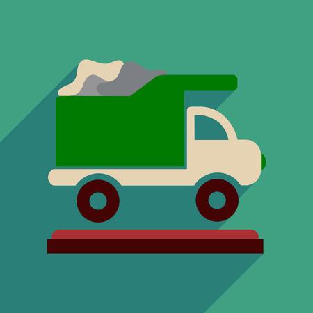 environmental sanitation: Flat web icon with long  shadow garbage truck