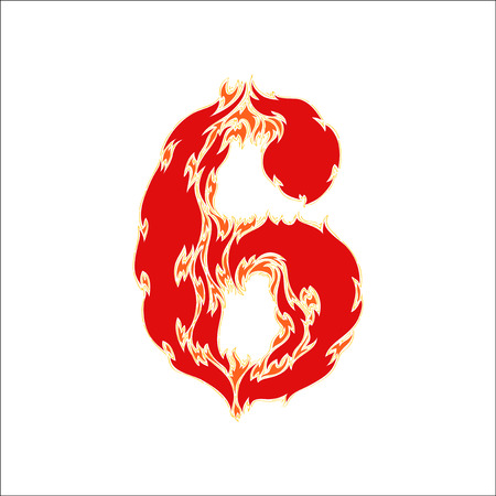 eight year old: fiery font red number 6 on white background Illustration