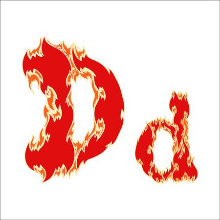 fiery font red letter D on white background