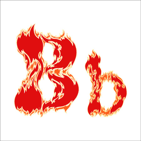fiery font: fiery font red letter B on white background