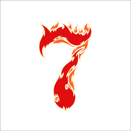 fiery: fiery font red number 7 on white background Illustration