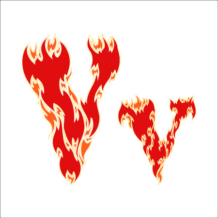 fiery font: fiery font red letter V on white background