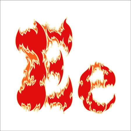 fiery: fiery font red letter E on white background Illustration
