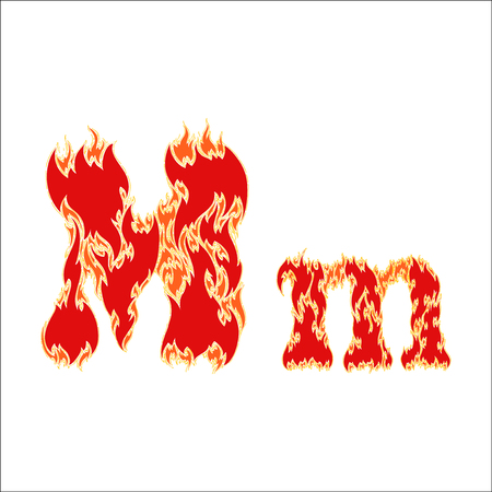 fiery font red letter M on white background Illustration