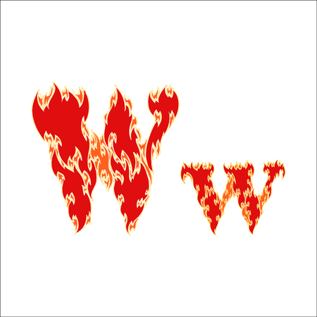 fiery font red letter W on white background