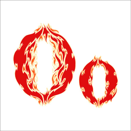 fiery font red letter O on white background Illustration