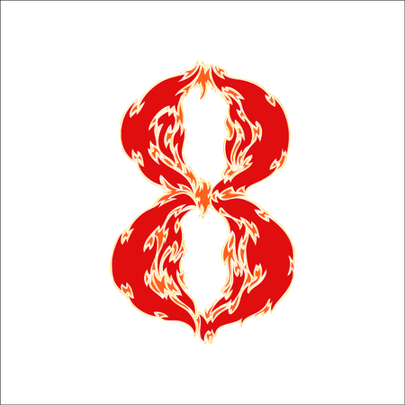 fiery font red number 8 on white background Illustration