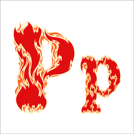 fiery: fiery font red letter P on white background Illustration