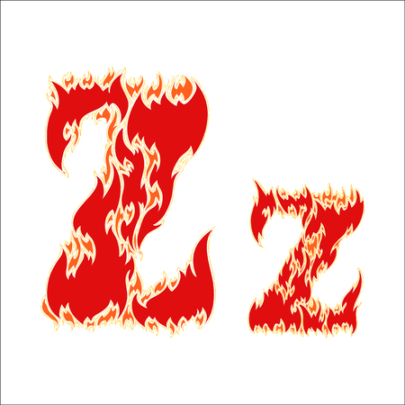 fiery: fiery font red letter Z on white background