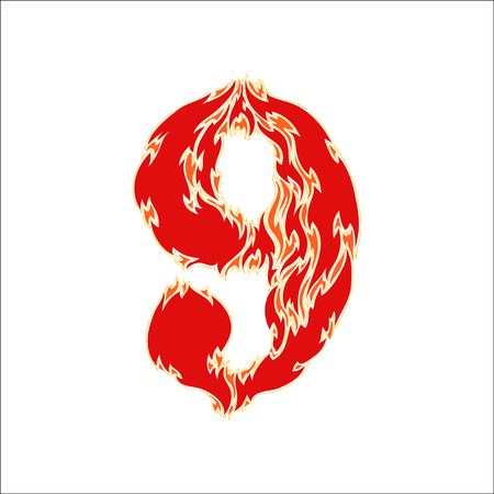eight year old: fiery font red number 9 on white background Illustration