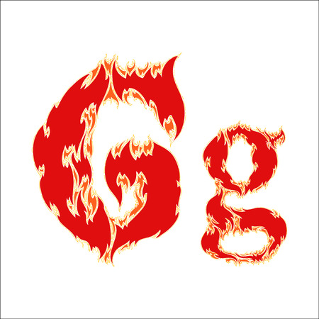 fiery font red letter G on white background