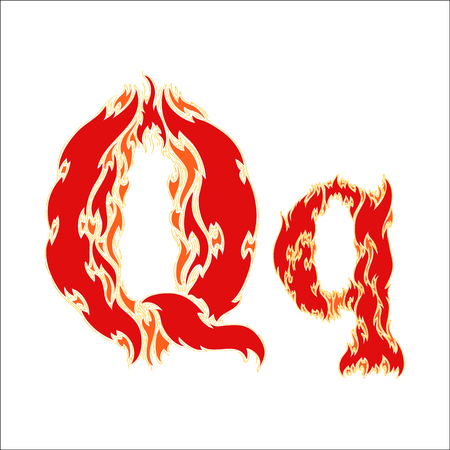 fiery: fiery font red letter Q on white background