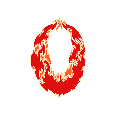 eight year old: fiery font red number 0 on white background
