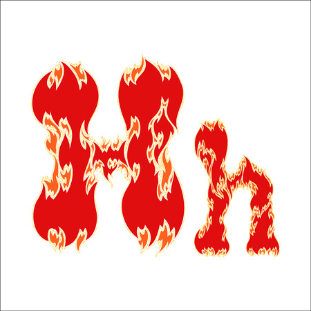 fiery font red letter H on white background Illustration