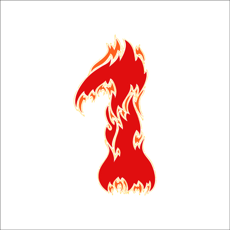 eight year old: fiery font red number 1 on white background