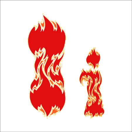 fiery: fiery font red letter I on white background Illustration