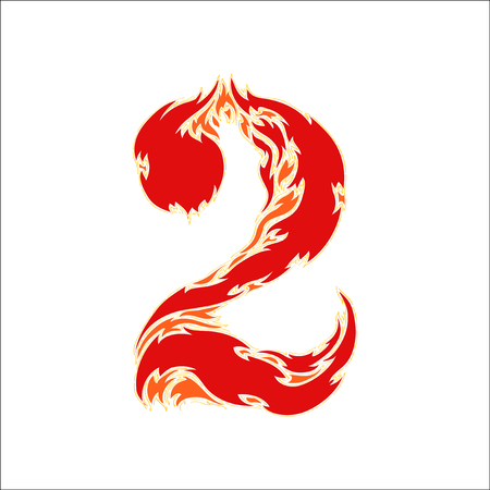 eight year old: fiery font red number 2 on white background Illustration