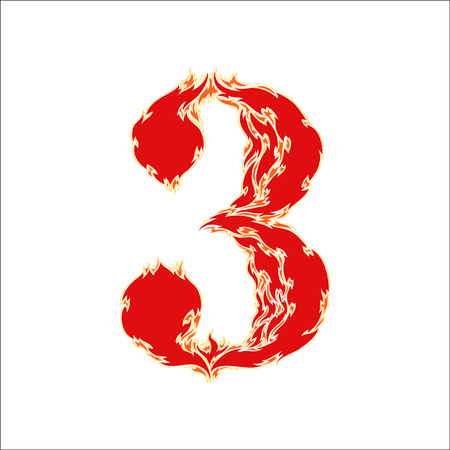 eight year old: fiery font red number 3 on white background