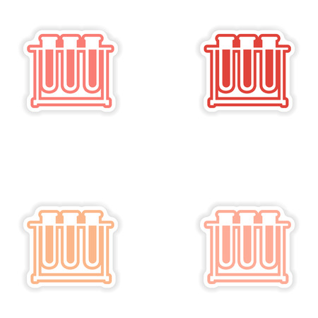 retort: Set of paper stickers on white background flask in stand Illustration