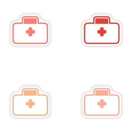 medics: Set of paper stickers on white background medical suitcase