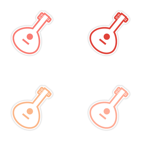 Set of stickers Indian musical instrument on white background