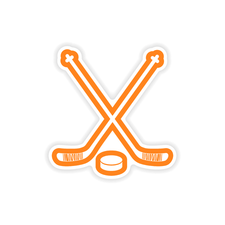 paper sticker hockey sticks and puck on white background