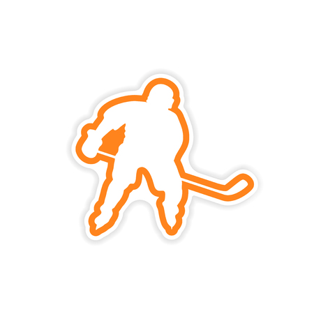playoff: paper sticker Canadian hockey player on white background Illustration