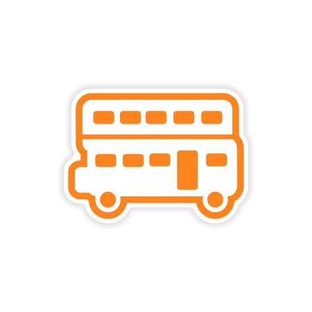 doubledecker: paper sticker British double-decker bus on white background