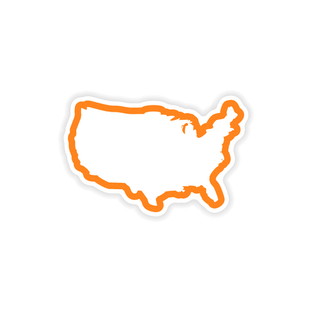 paper sticker map of USA on white background