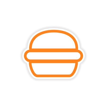 sesame: paper sticker American burger on white background Illustration