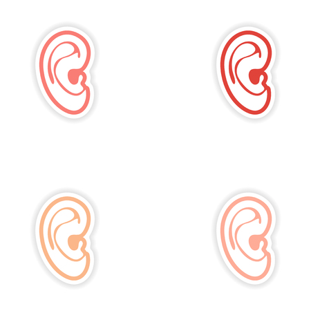 the human ear: Set of paper stickers on white background human ear Illustration