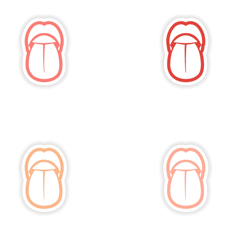 incisor: Set of paper stickers on white background mouth and tongue