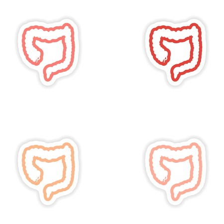 duodenal: Set of paper stickers on white background Duodenum human Illustration