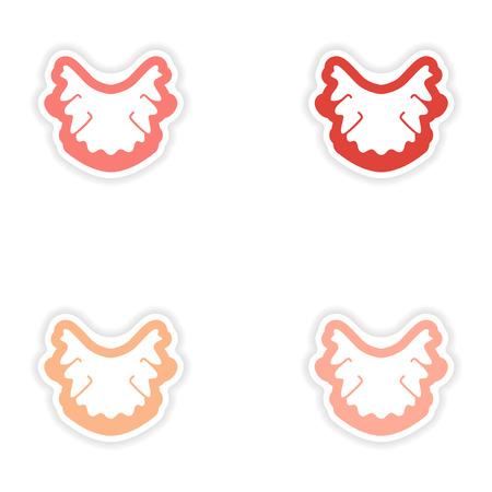 diseased: Set of paper stickers on white background nerves in gums