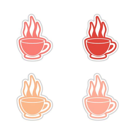 Set of stickers Indian tea cup on white background