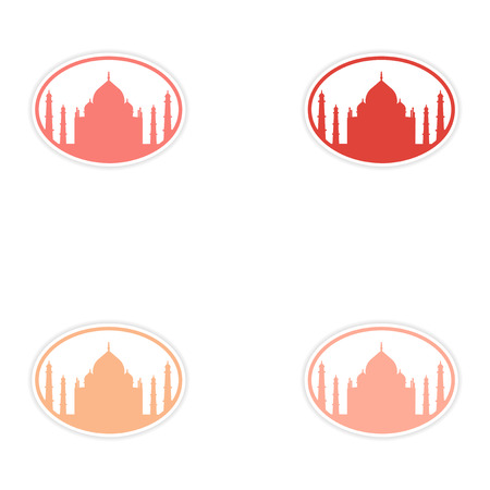 holy place: Set of stickers Indian Taj Mahal on white background