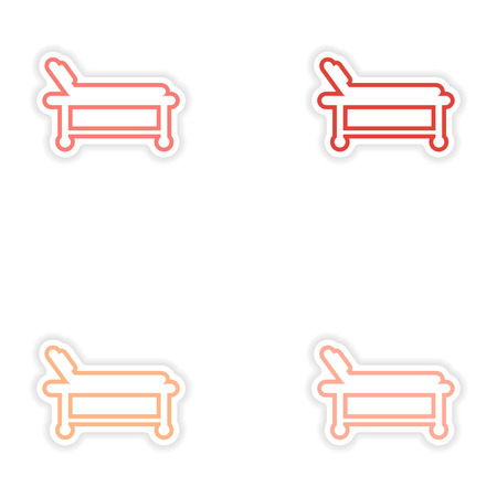 hospital stretcher: Set of paper stickers on white background hospital stretcher