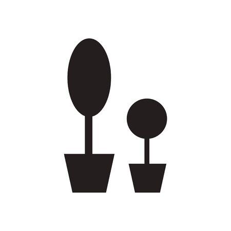 flowerpots: Flat icon in black and  white flowerpots