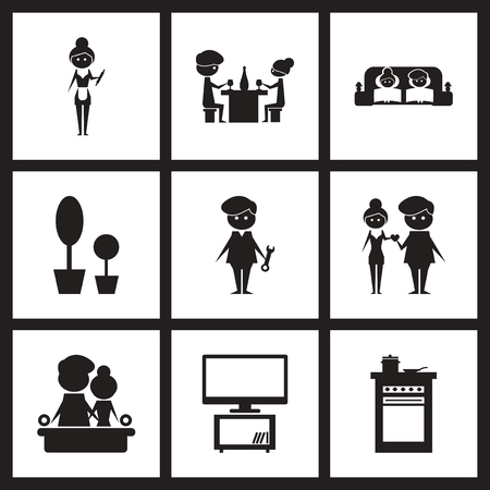 black family: Concept flat icons in black and  white love family life