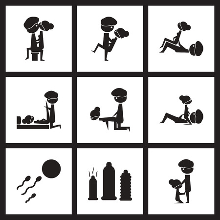 Flat icon in black and  white Kamasutra positions