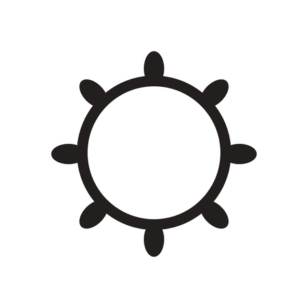 Flat icon in black and  white ship wheel